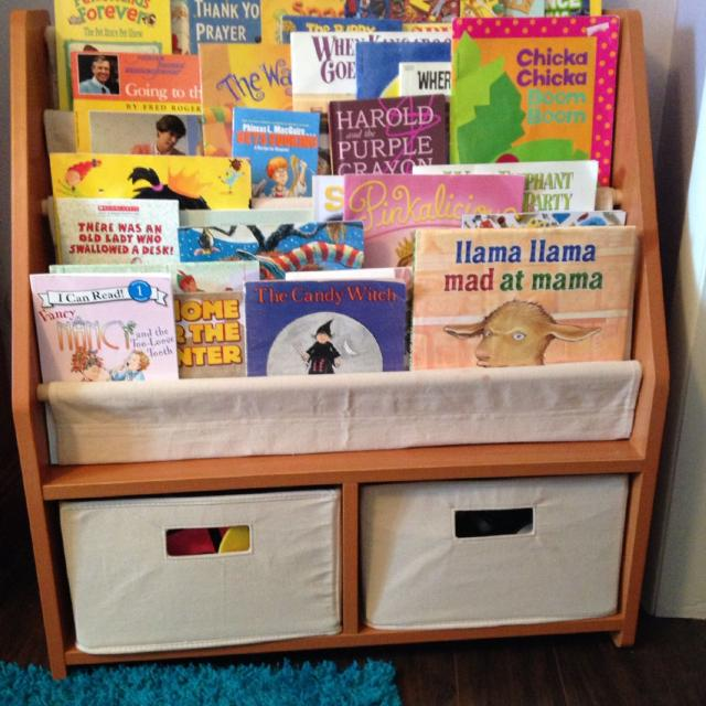 One Step Ahead Kids Sling Bookshelf With Storage Bins