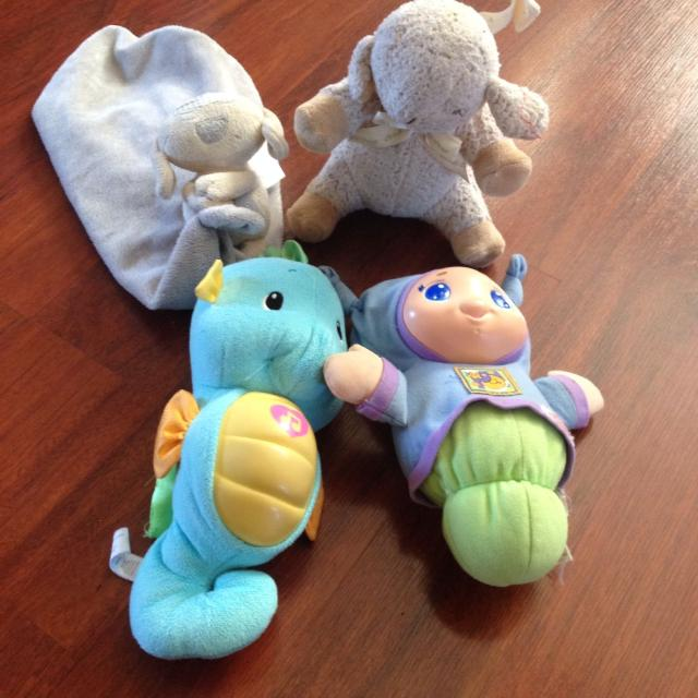 Sleep sheep, 2 glow worms and a Mex brand teddy blankie