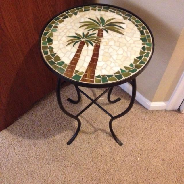 Gl Mosaic Palm Tree Motif Side Table Plant Stand