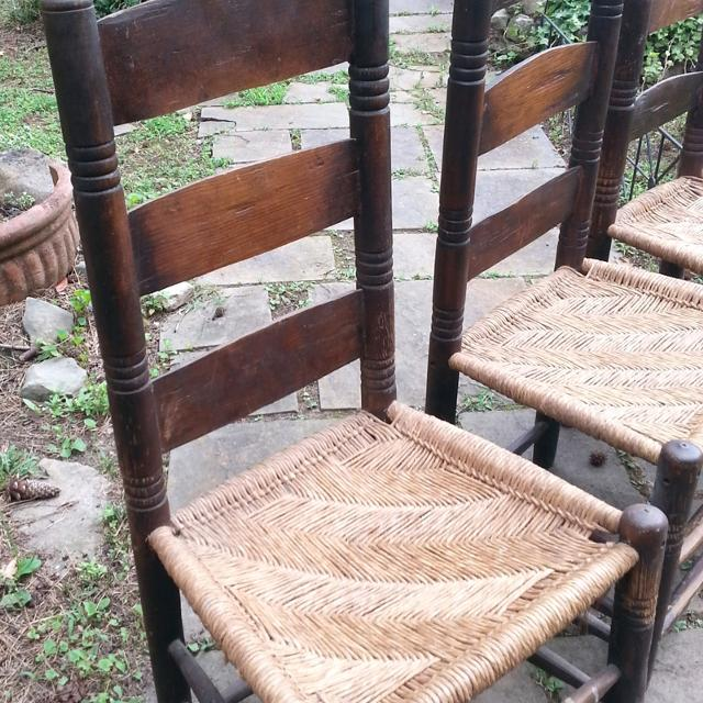 Primitive Antique Ladder Back Chairs, Hand Turned Rush Seats - Best Primitive Antique Ladder Back Chairs, Hand Turned Rush Seats