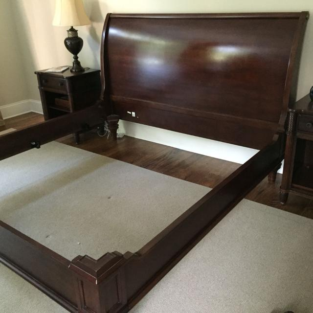 solid wood bernhardt king bed frame