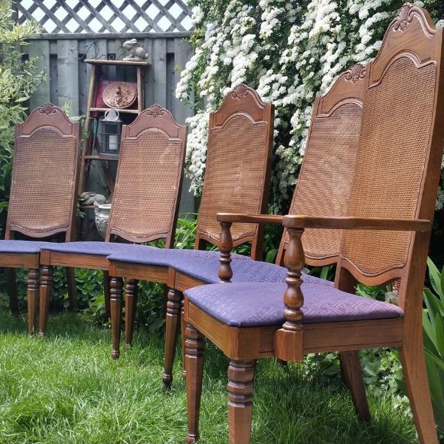 4 Vintage Antique Cane Back Chairs Accent Dining