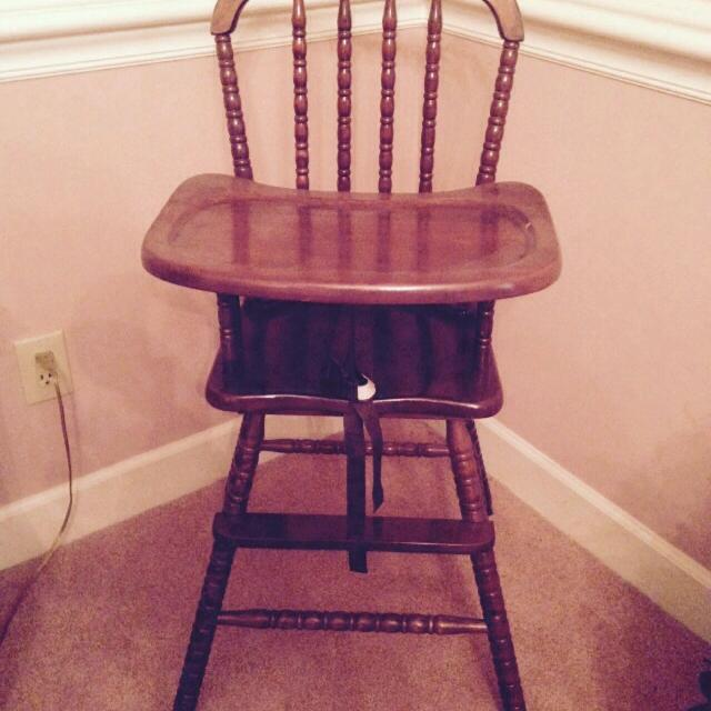 Solid wood Antique High Chair (strap added for safety) cross-posted $100 - Find More Solid Wood Antique High Chair (strap Added For Safety