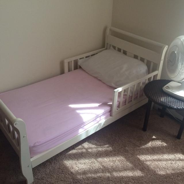 official photos aa9c8 1c5bb Shabby chic off white toddler bed. Used two years. GUC. Comes with  mattress. Baby/toddler all natural munchkin mattress.