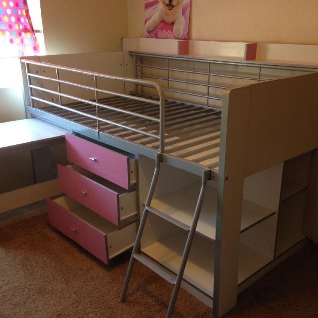 Savannah Storage Loft Bed With Desk White And Pink Original Price Is 389