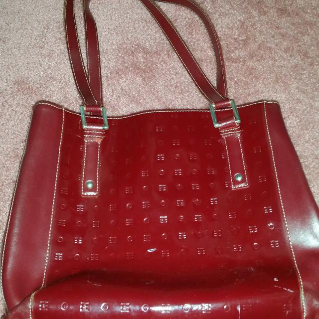 Burgundy Arcadia Patent Leather Purse Made In Italy