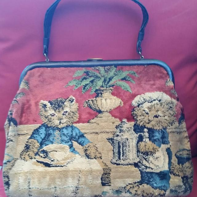 90f24c77ef62 Best 1940 s Vintage Carpet Tapestry Handbag   Purse   Pocketbook Cats    Dogs for sale in Quincy