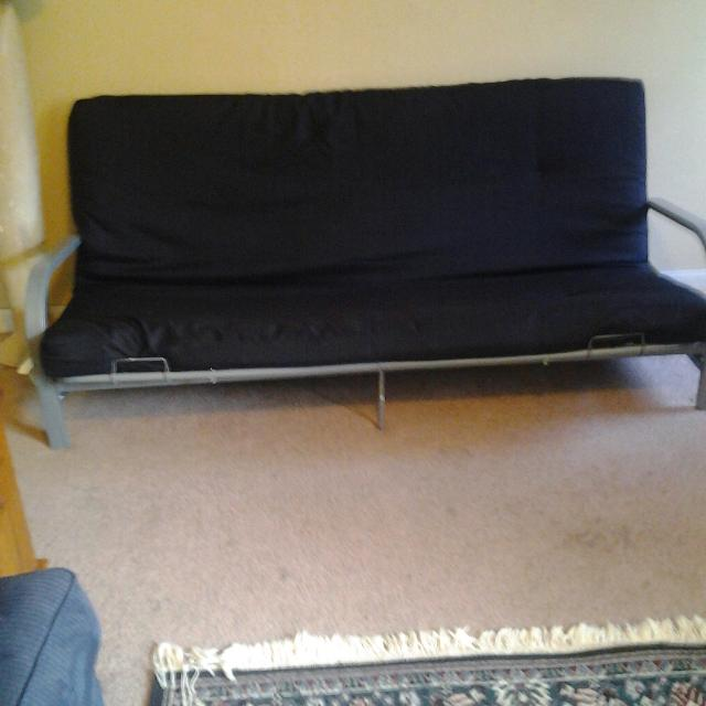 Grey Metal Frame Black Cushion Futon Couch Bed Paid 165 Brand New 6 Months