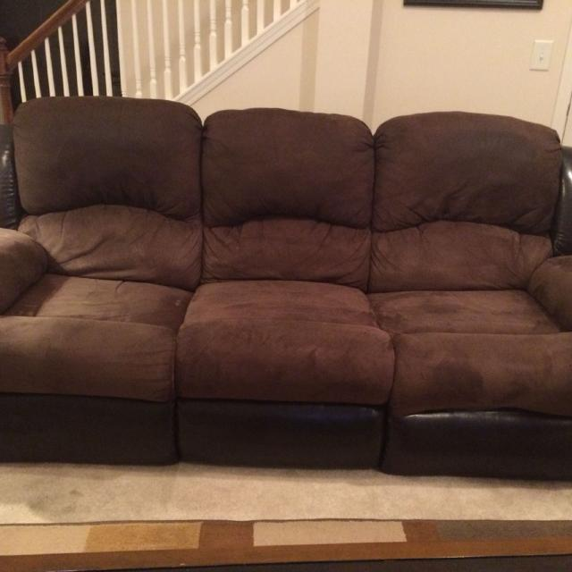 Reduced $100!! Dark brown/chocolate microfiber couch with 1 working  recliner. Have not tried fixing the other side. More pics in comments.
