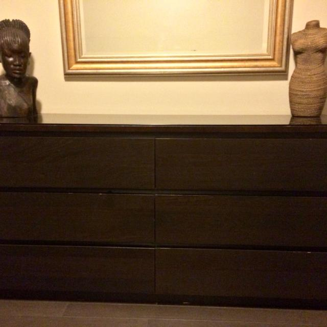 Ikea Malm 6 Drawer Dresser Black Brown With Gl Top