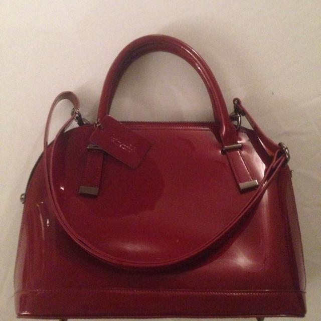 Burgundy Danier Leather Bag With Shoulder Strap