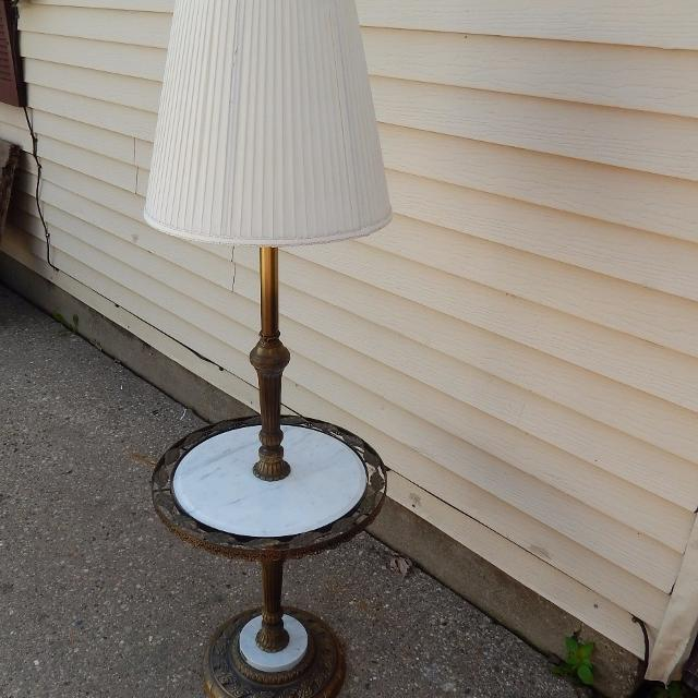 Vintage Antique Floor Lamp Italian Marble Table Accented Base