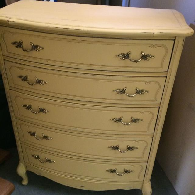 Yellow Refurbished Antique Style Dresser