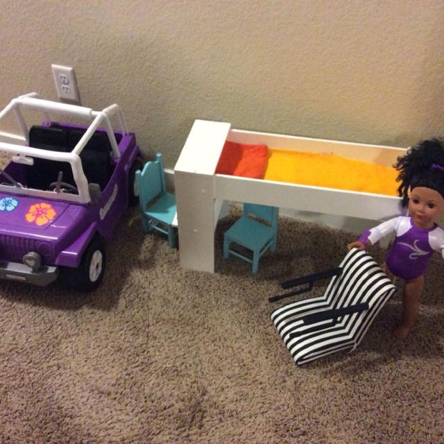 Set Of Doll Items 18 Inch Jeep Bed With Desk And Chairs
