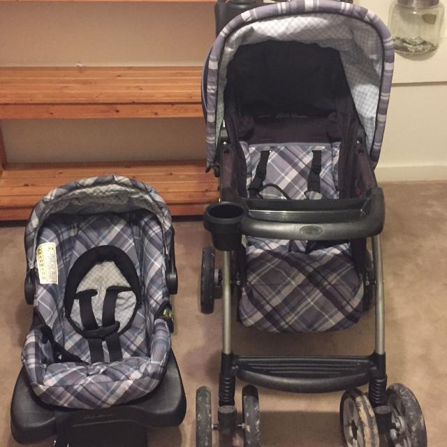 REDUCEDEddie Bauer Blue Plaid Stroller Car Seat And Bas
