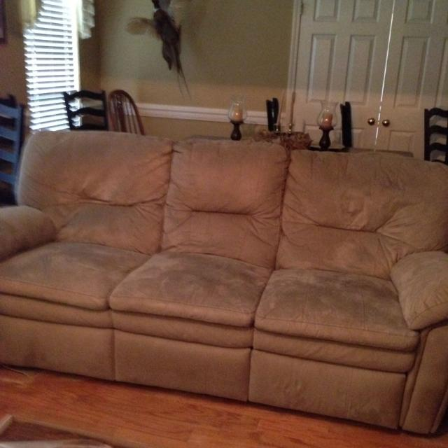 Berkline Sofa Recliner Color Is A Khaki Taupe And Made Of Micro Suede