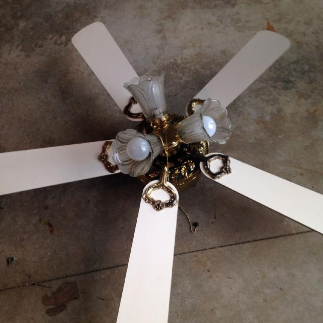 Find more half off 1 encon ceiling fan model m42 white bottom brown half off 1 encon ceiling fan model m42 white bottom brown top with brass brass needs aloadofball Choice Image