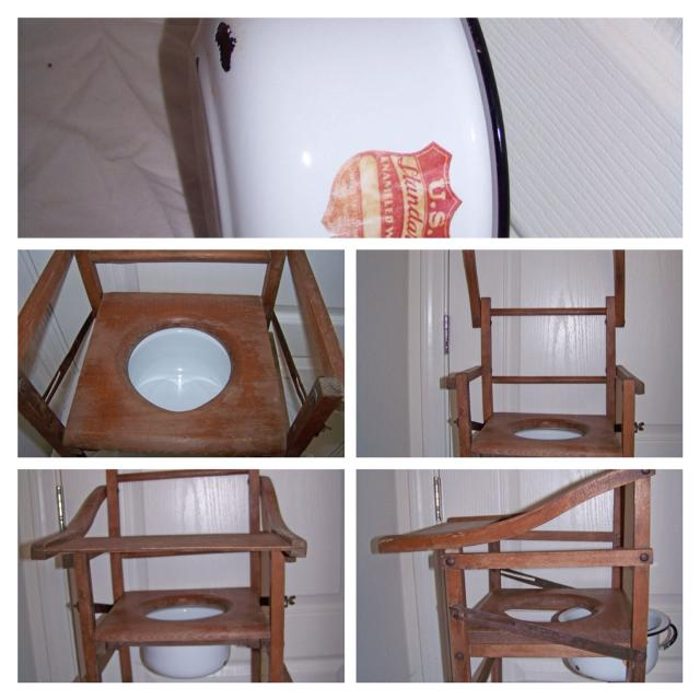 Antique Childs Wooden Potty Chair with tray and original enamel pot - Best Antique Childs Wooden Potty Chair With Tray And Original Enamel