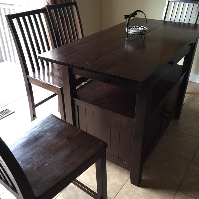 Urban Barn Cantina Extension Counter Table And 4 Chairs Dining Set
