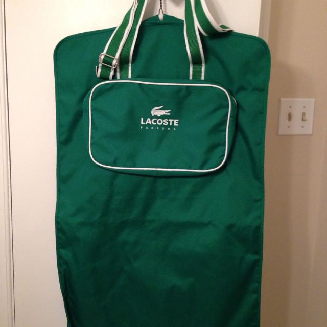 Lacoste Garment Bag Green And White Strong Canvas Material Great For Travel