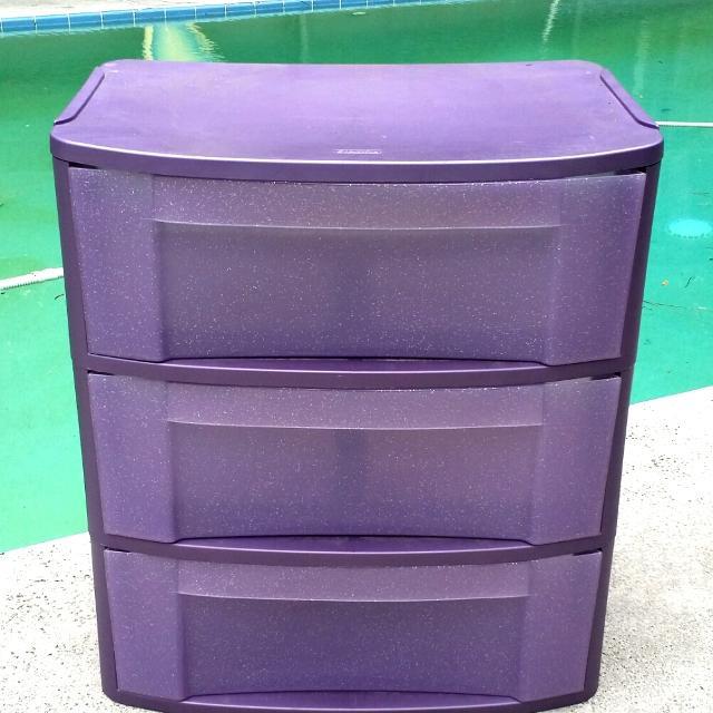 Sterilite 3 Drawer Sparkle Purple Storage Bin