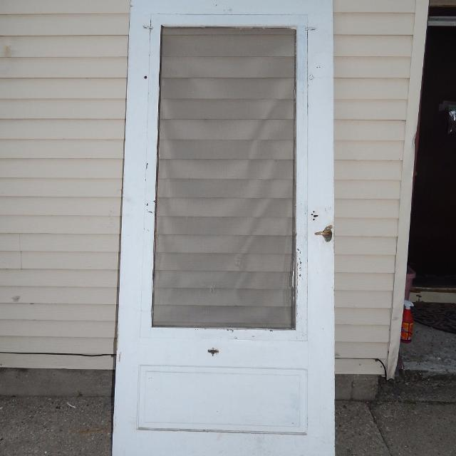 Vintage Wooden Screen Door With Hardware - Frame is excellent - Screen  Needs Replaced 36