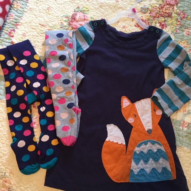 8084a0278544 Find more Mini Boden Navy Fox Dress And Two Pair Mini Boden Tights ...