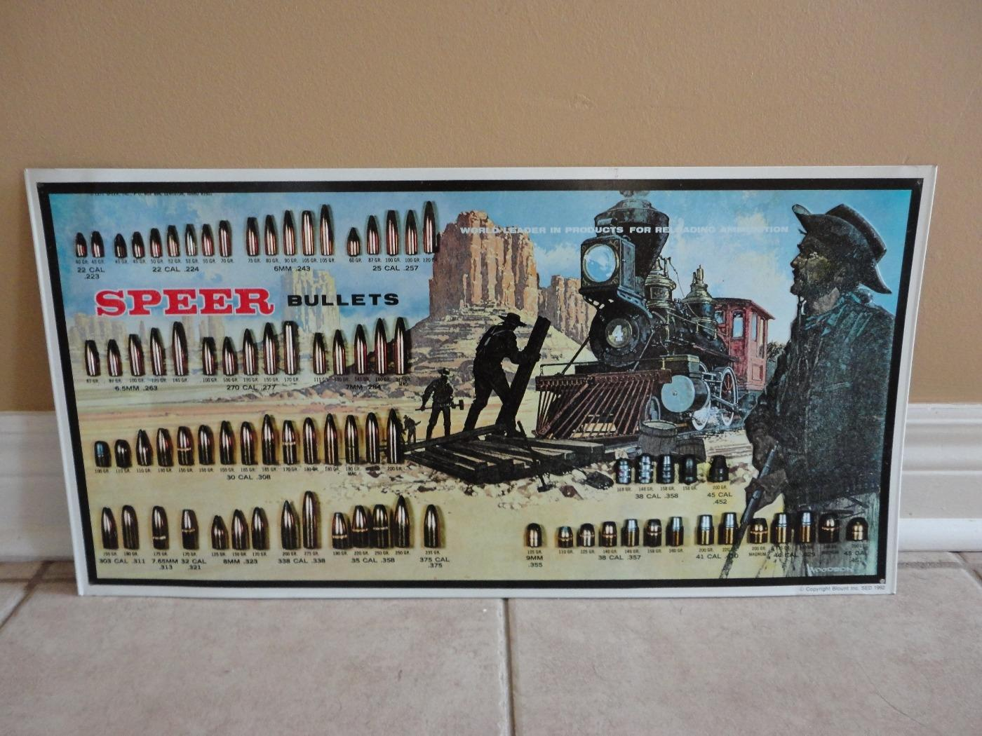 Speer Bullets reloading ammunition chart Blount Inc advertising sign 1992  dated