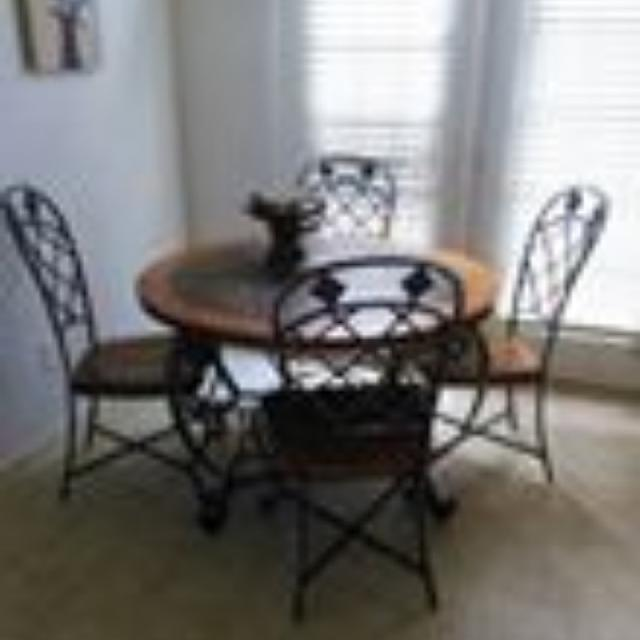 Slate Top Dining Table With Wood Trim And Iron Legs