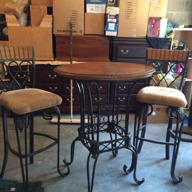 Find More Bistro Table And Two Chairs With Wine Rack Underneath For