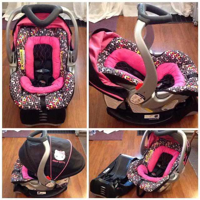 BABY TREND Flex Loc Infant Car Seat And Base HELLO KITTY Pin Wheel