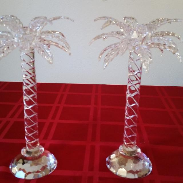 Inger Crystal Palm Tree Candle Holders