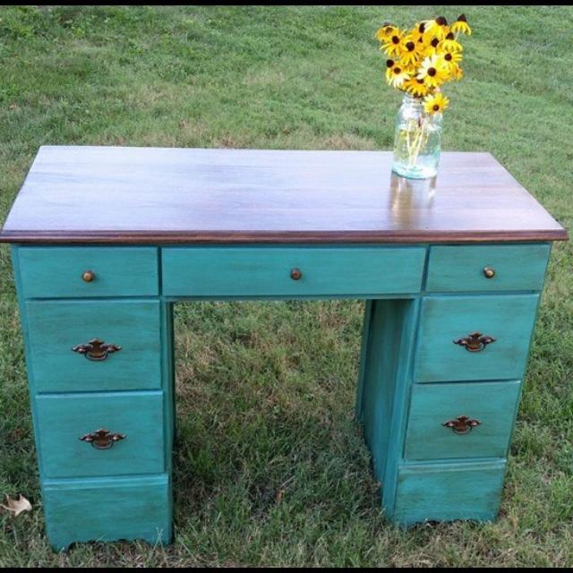 Vintage Wooden Desk For Painted In Annie Sloan Florence Chalk Paint Wood Top