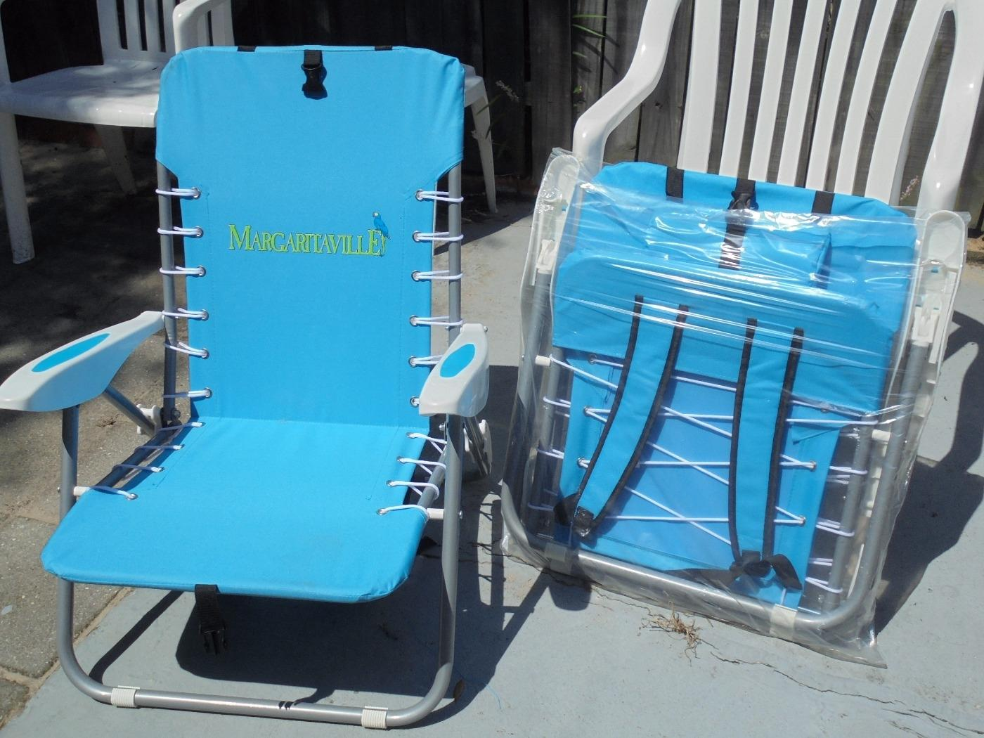find more 2 new margaritaville jimmy buffett backpack beach chairs for sale at up to 90 off. Black Bedroom Furniture Sets. Home Design Ideas