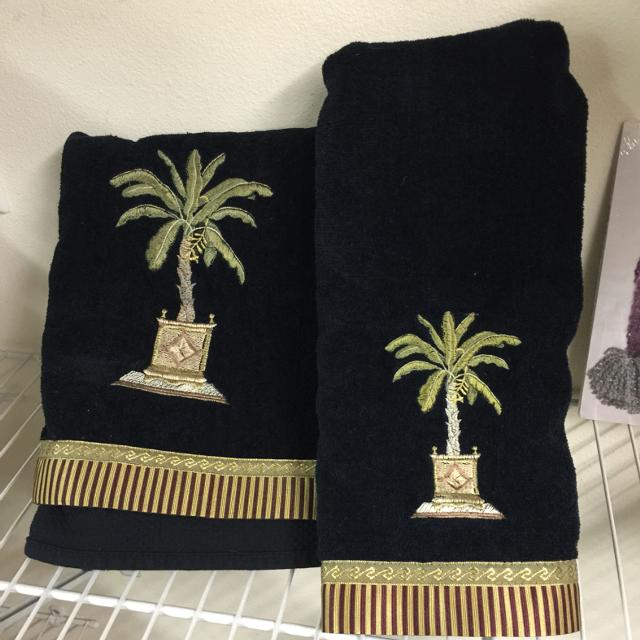Set Of Black Bath Towels With Embroidered Palm Tree Design And Decorative Trim One