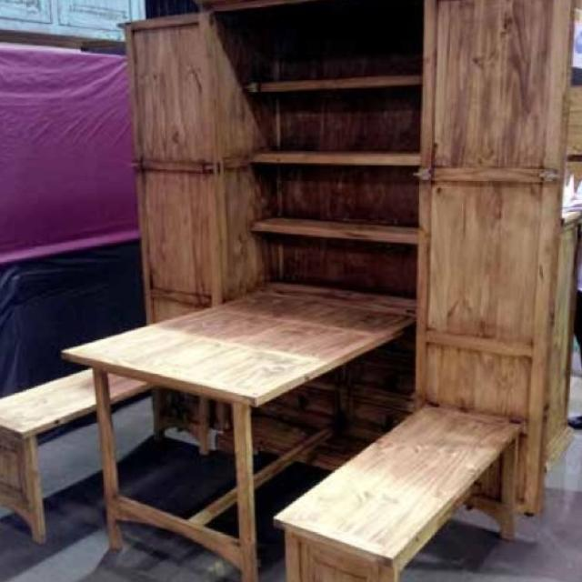 Fold Down Cowboy Kitchen Table Cabinet