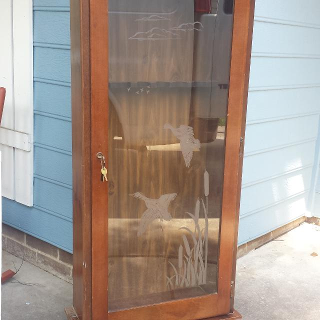 Find More Glass Gun Cabinet W Frosted Duck Image For Sale At Up To