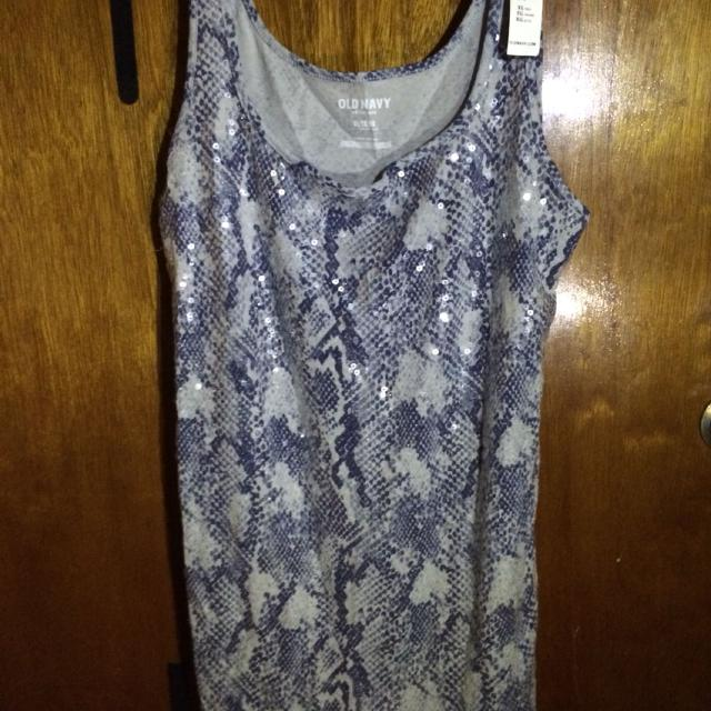 dacaaabc2ee30 Best  nwt  Old Navy Dark Blue  Light Blue Tank Top With Clear Sequins -  Size Xl. Can Wear This With A Sweater Or Jacket