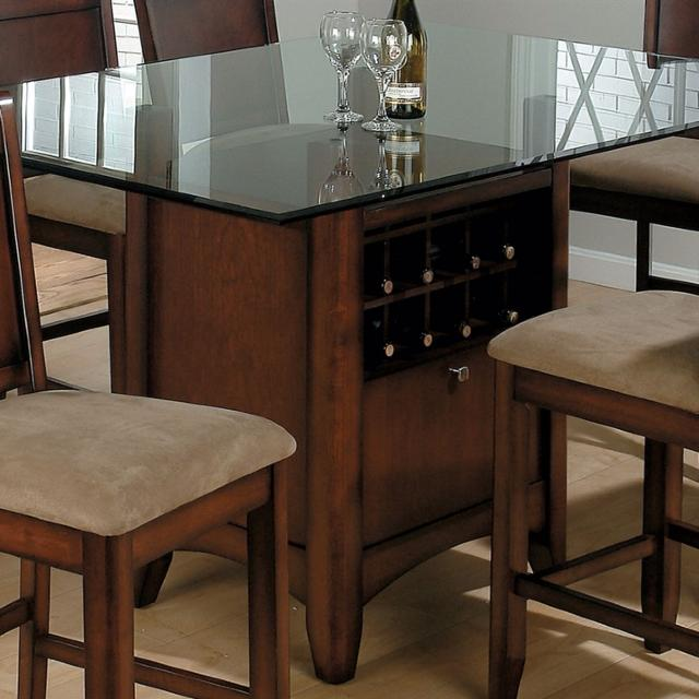 Glass Dining Table With Wine Rack And Cabinet 6 Black Chestnut Chairs Separate
