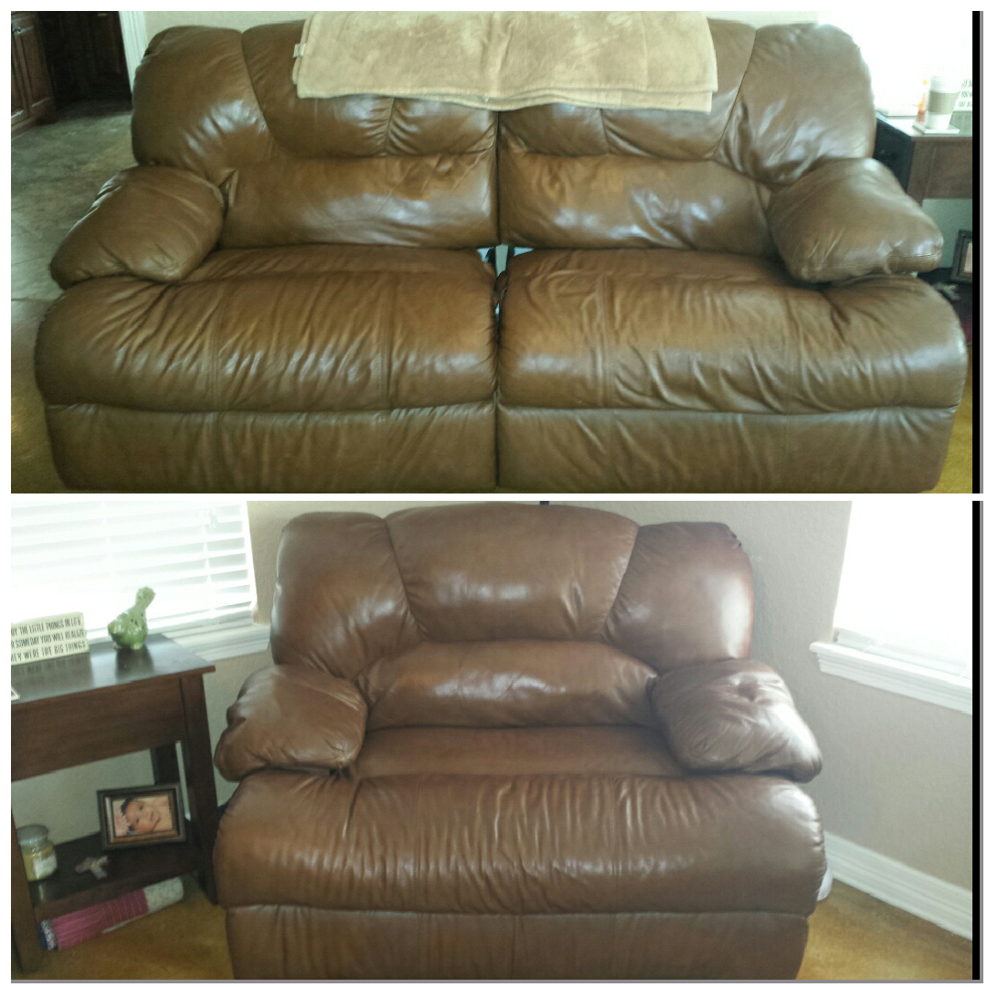 Leather Reclining Sofa And Oversized