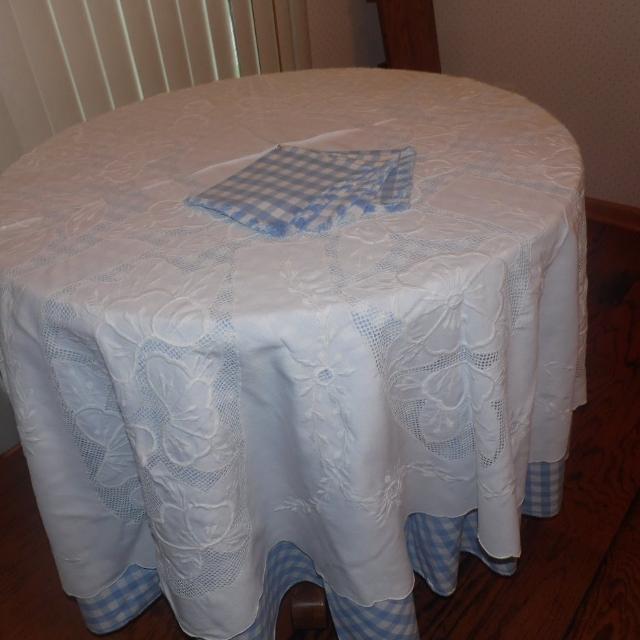 2850b5402c Best No Longer Available. Custom Made Oak Kitchen Table. . Blue & White  Check Matching Linen' S Including Napkins. for sale in Gardner, Kansas for  2019
