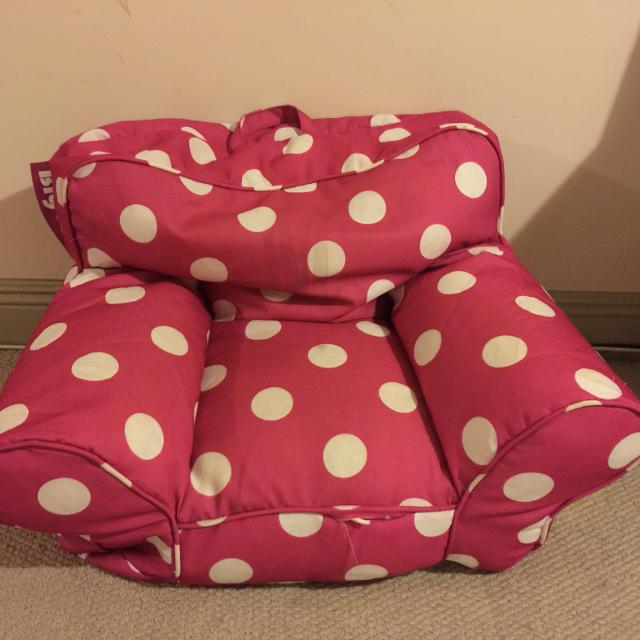 Girls Hot Pink White Polka Dot Big Joe Bean Bag Chair