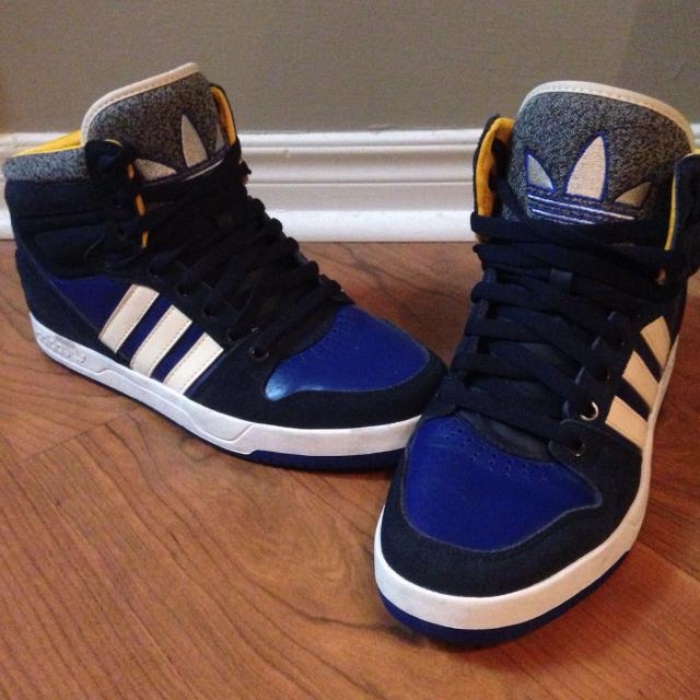 online retailer d5a6e c976a Best Adidas Court Attitude Running Shoes. High Tops. Excellent Condition.  Mens Size 10. Navy, Blue, Yellow  White for sale in The Beaches, Ontario  for 2019