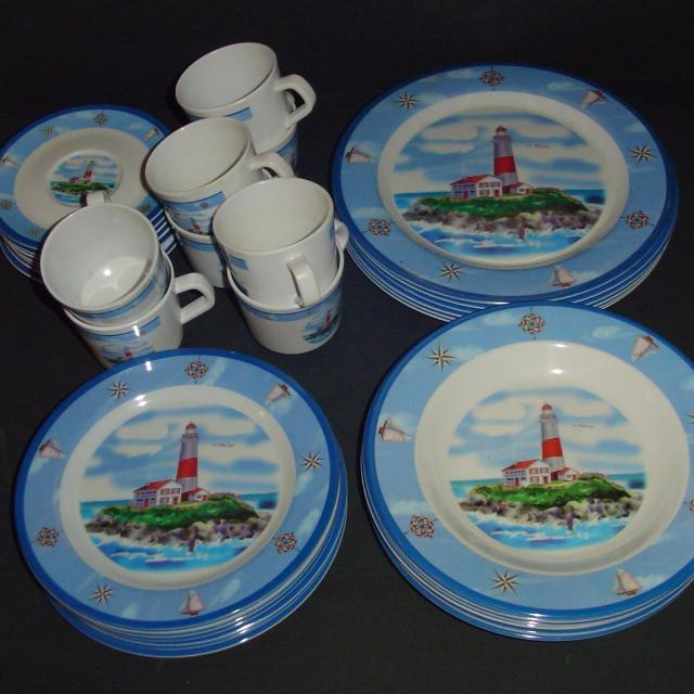 Find More Melamine Lighthouse Dinnerware Ocean Beach 37 Pieces Rare