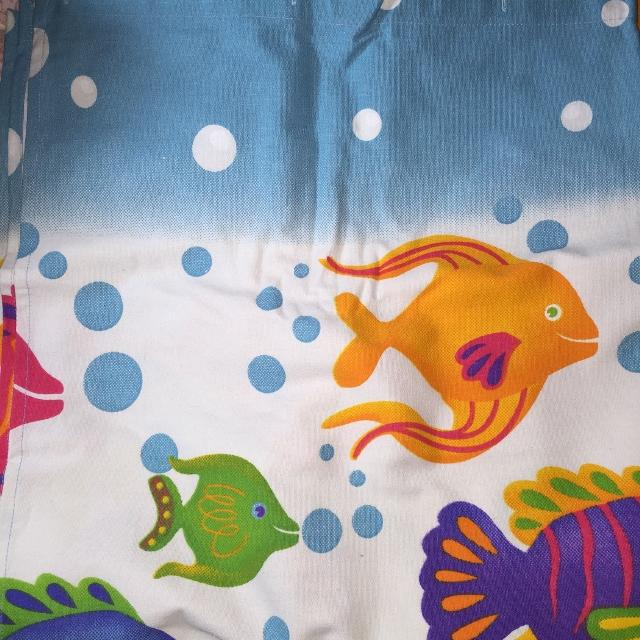 Super Cute Heavy Canvas Shower Curtain with Fish  Smoke Free Home  Reduced  from $10 to $5