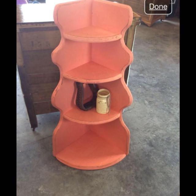 Vintage 4 Tier Corner Shelf Distressed Coral Color