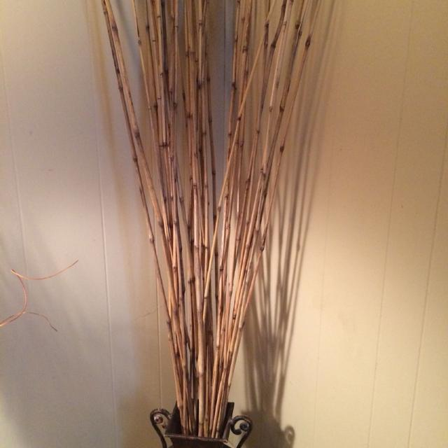 Decorative Container With Bamboo Sticks Measures 18 In Tall And Total Height
