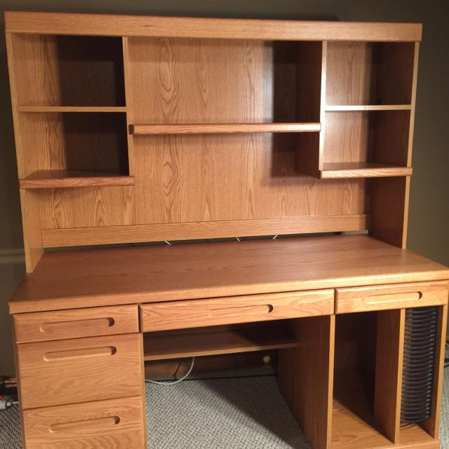 Palliser Oak Finish Wood Hutch And Desk With Credenza File Drawers Pull Down