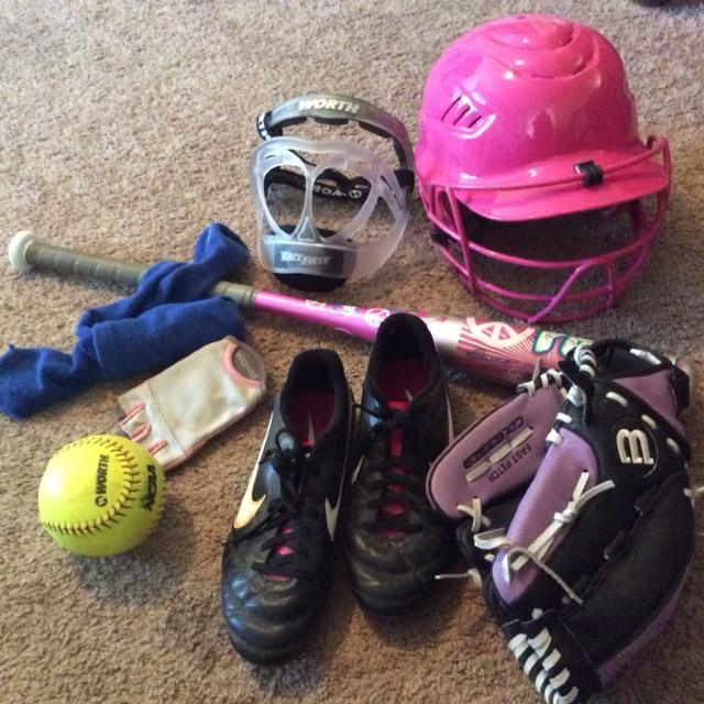 Find More Girls Softball Helmet Face Protector Glove Bat Ball