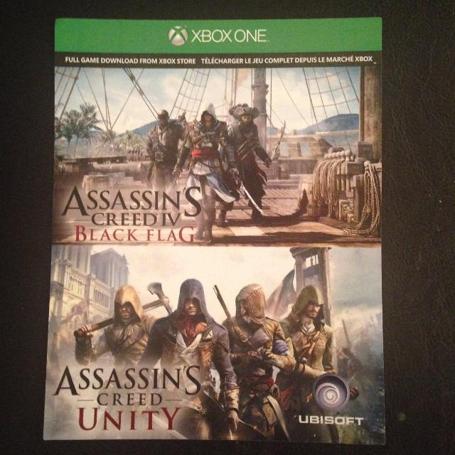 Assassins Creed Black Flag and Assassins Creed Unity Digital Download Code  Xbox One